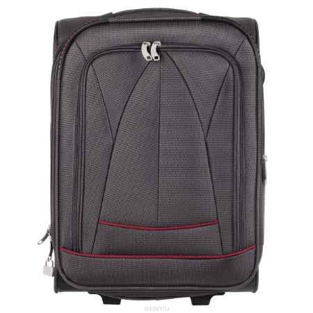 Купить Чемодан на колесиках, высота 50 см, тканевый, цвет: серый, красный