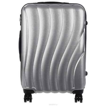 Купить Чемодан на колесиках, высота 70 см, пластиковый, цвет: серый
