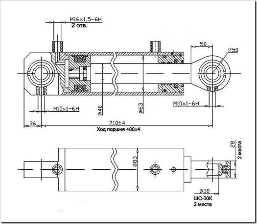 Гидроцилиндр одностороннего действия   как устроен и принцип работы